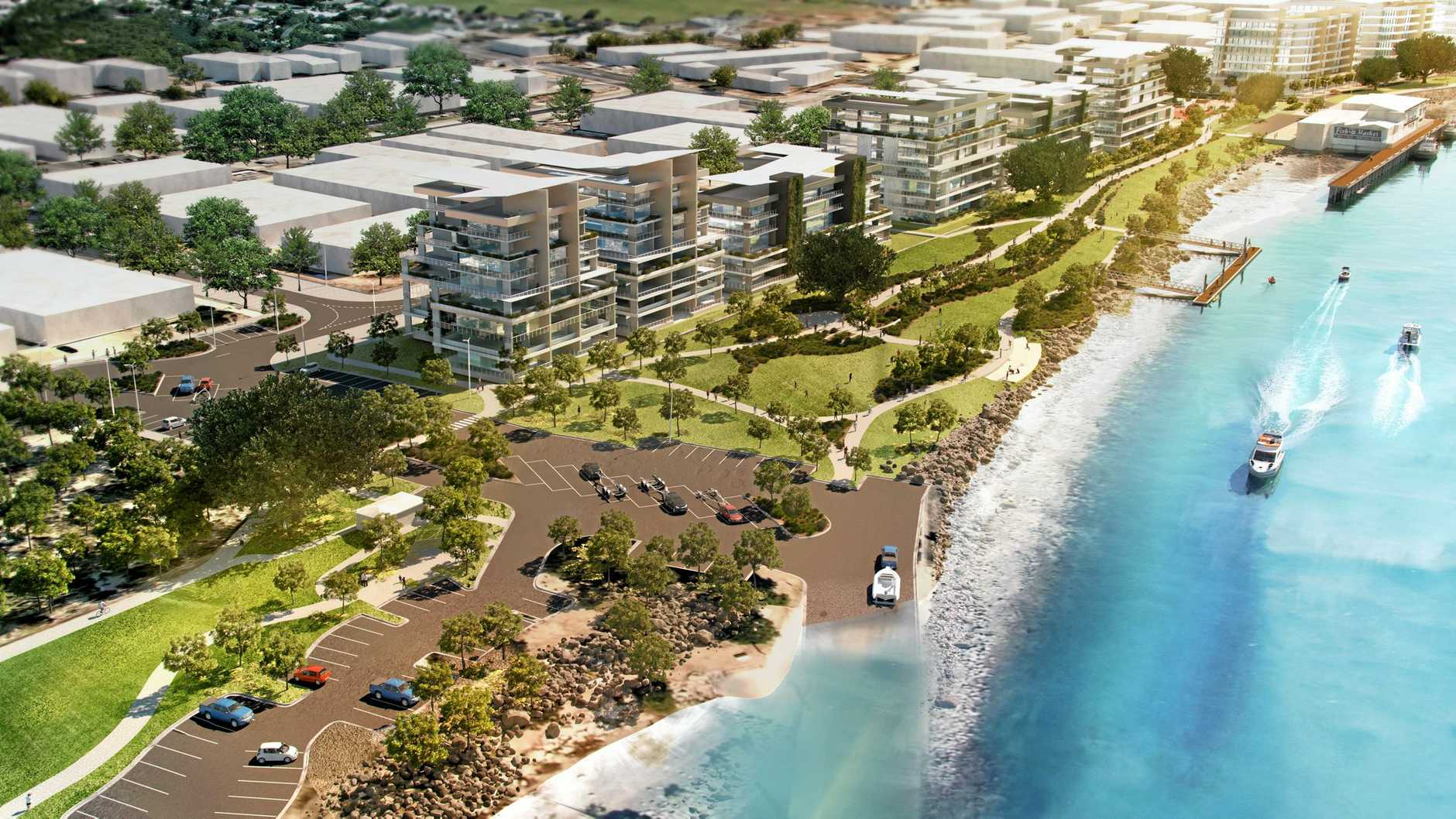An artist's impression of potential development Precinct Two of the Mackay Waterfront Development on the Pioneer River.