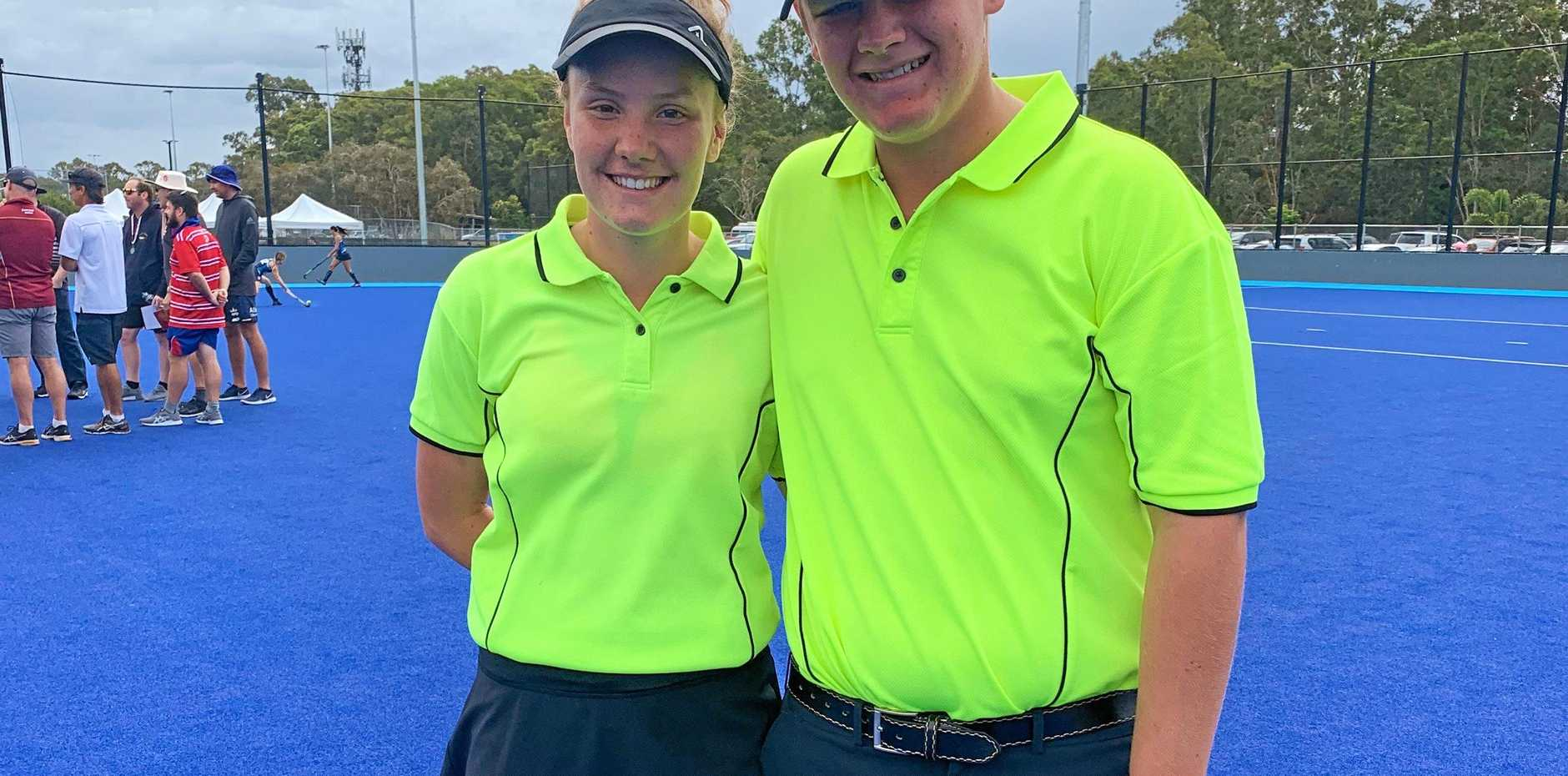 IN CHARGE: Ashley Spry (left) and Toowoomba's Jack Moore umpired the final of the the Qld Secondary Schools Championships (19 years). Moore has now been selected as an umpire with the Qld side that will tour New Zealand later this year.