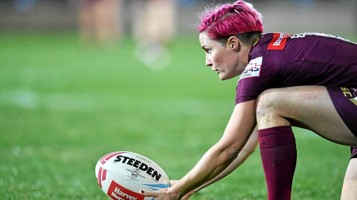MORE GOALS TO GET: Chelsea Baker sets up her conversion against New South Wales in last year's first-ever women's State of Origin.