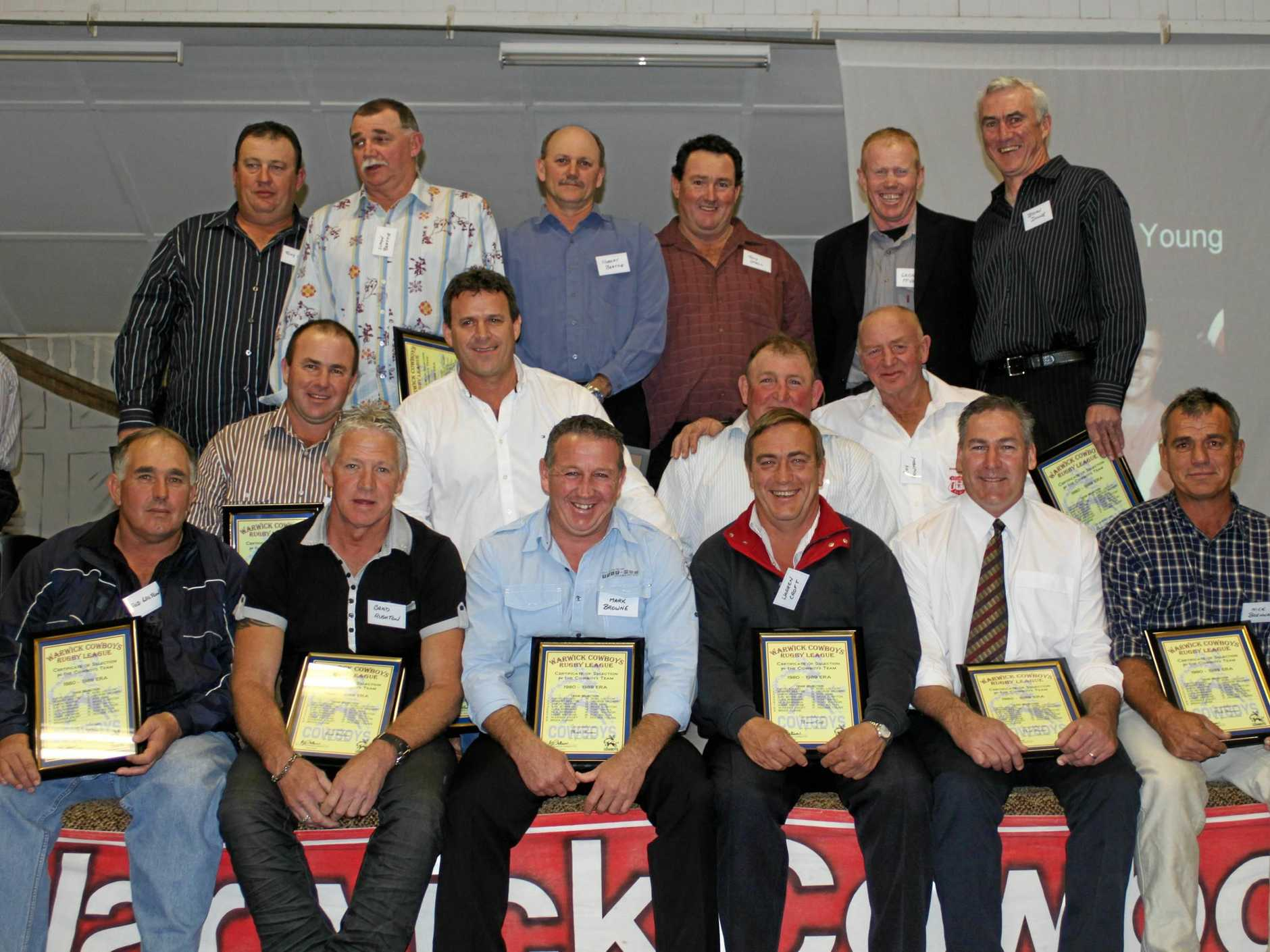CLASS TEAM: The Cowboys team of the 1980s (back, from left) Tony Watson, Simon Beattie, Rob Beattie, Tony Small, George McVeigh, Brian Dunne, (middle) Fraser Young, David Abood, Rod Neal, Ray Bowman, (front) Rod Wilton, Brad Rushton, Mark Browne, Warren Croft, Noel Loudon and Nick Brennan. Luke Brennan was also in team.
