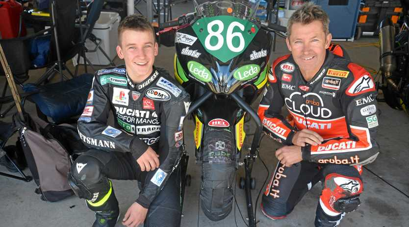 WORLD CHAMP:   Three-time world superbike champion Troy Bayliss and his son, Oli,   will race at Morgan Park this weekend.