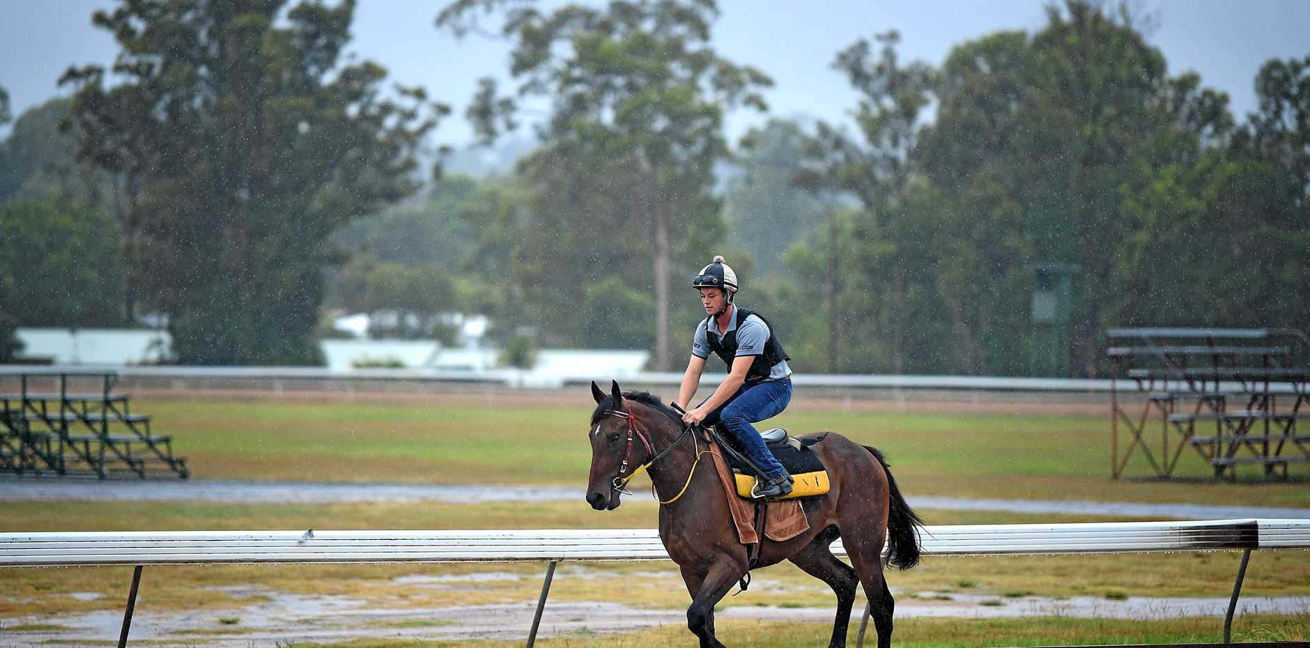 Training at the race track in GYmpie.