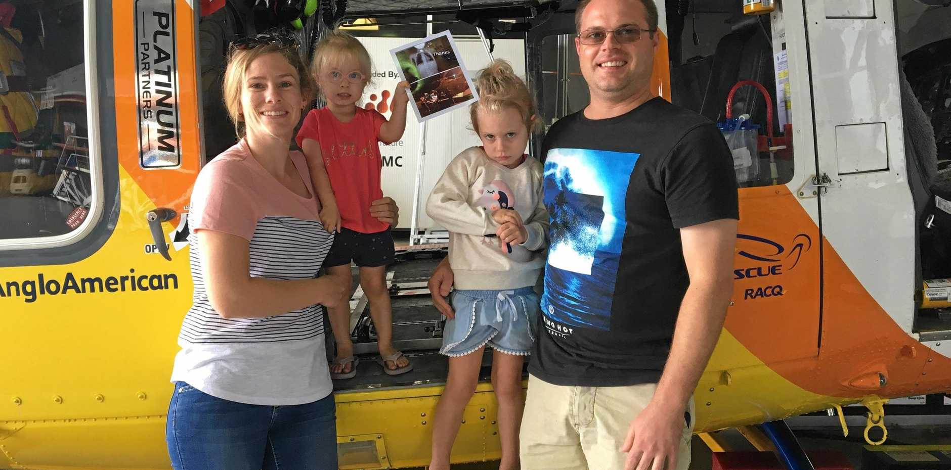 HEARTFELT THANKS: The Wright family, Jana, Belle, Grace and Hayden, visited the RACQ CQ Rescue hangar to say thanks and make a donation. Belle was airlifted in February after she swallowed a coin.