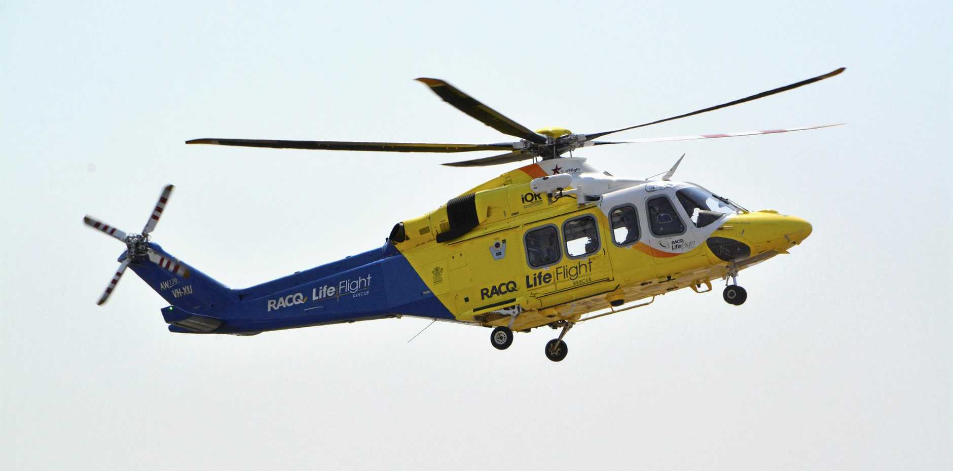 A teenager has been airlifted to Brisbane following a crash.