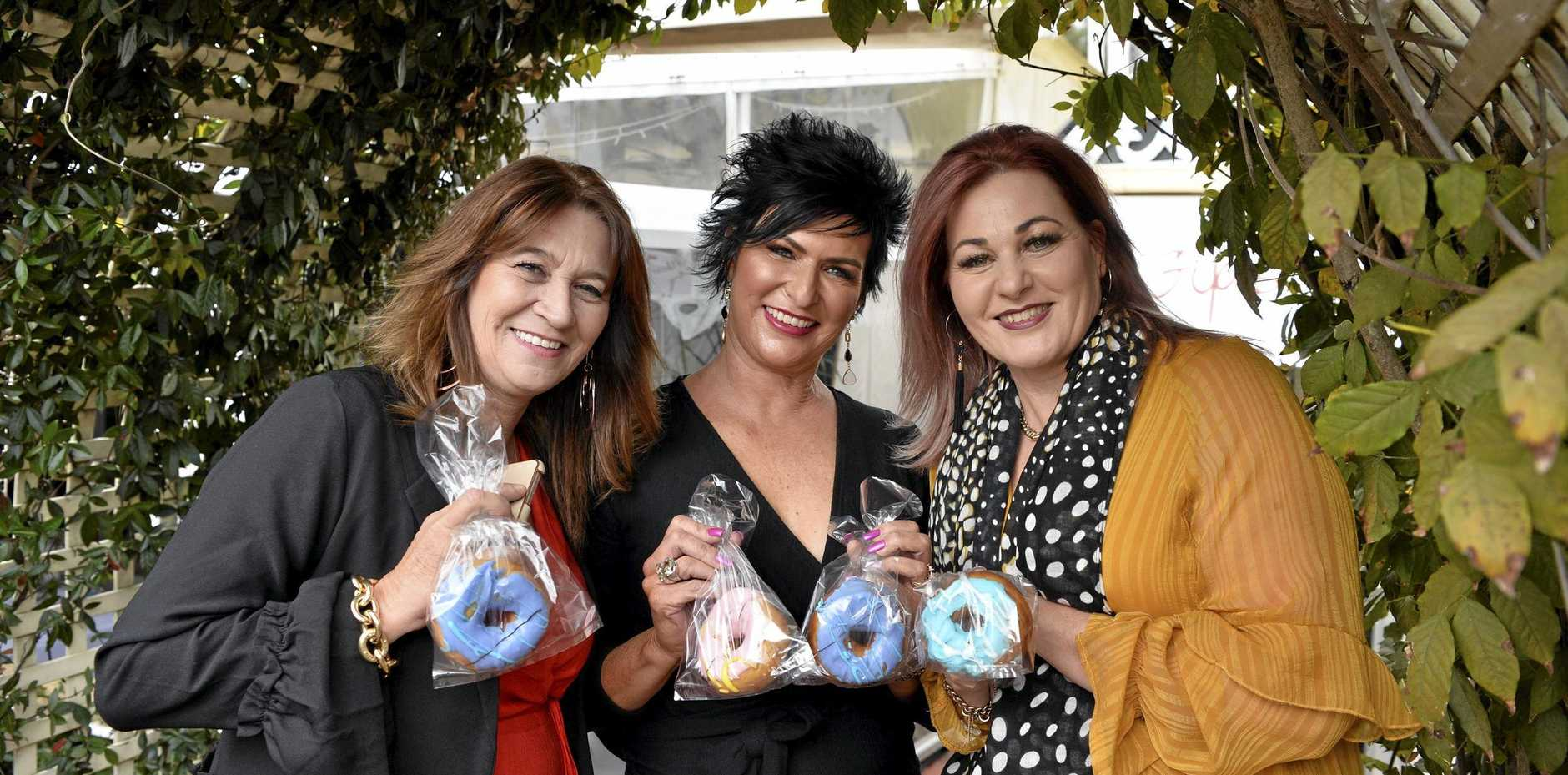 Enjoying a fun afternoon for charity are (from left) Sharon Pengelly, Kerri Coghlan and Natasha Arnold at the Toowoomba Hospital Foundations Hogans Family Jewellers Ladies Diamond Luncheon at Gip's Restaurant, Friday, June 7, 2019.