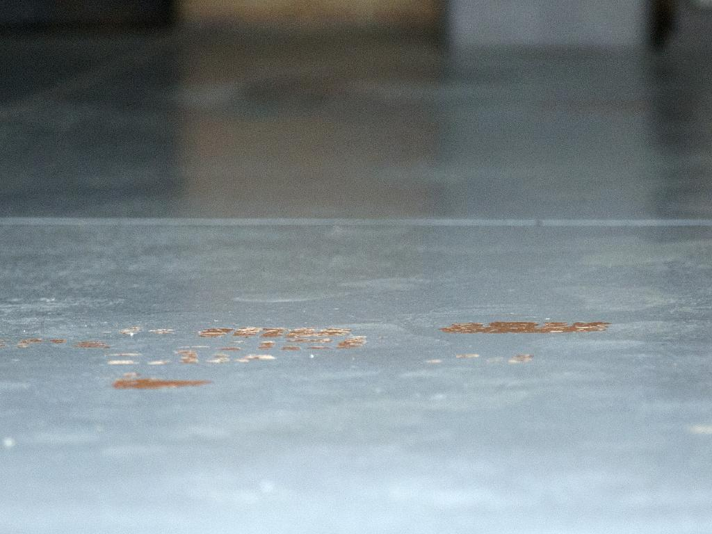 Blood on the garage floor at the home in Mill Park. Picture: Sarah Matray