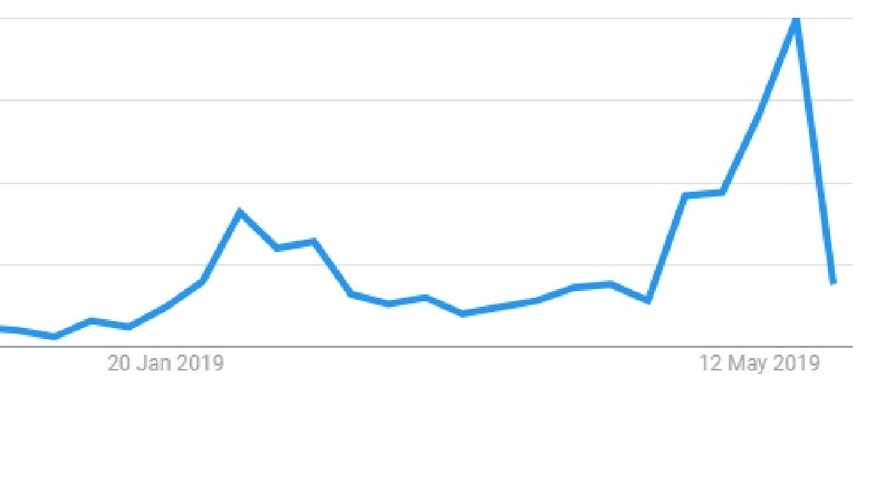 This Google trends chart reveals a massive spike is searches for