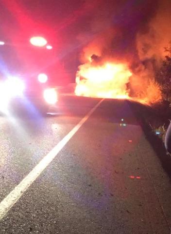 Truck fire on the Toowoomba Range.
