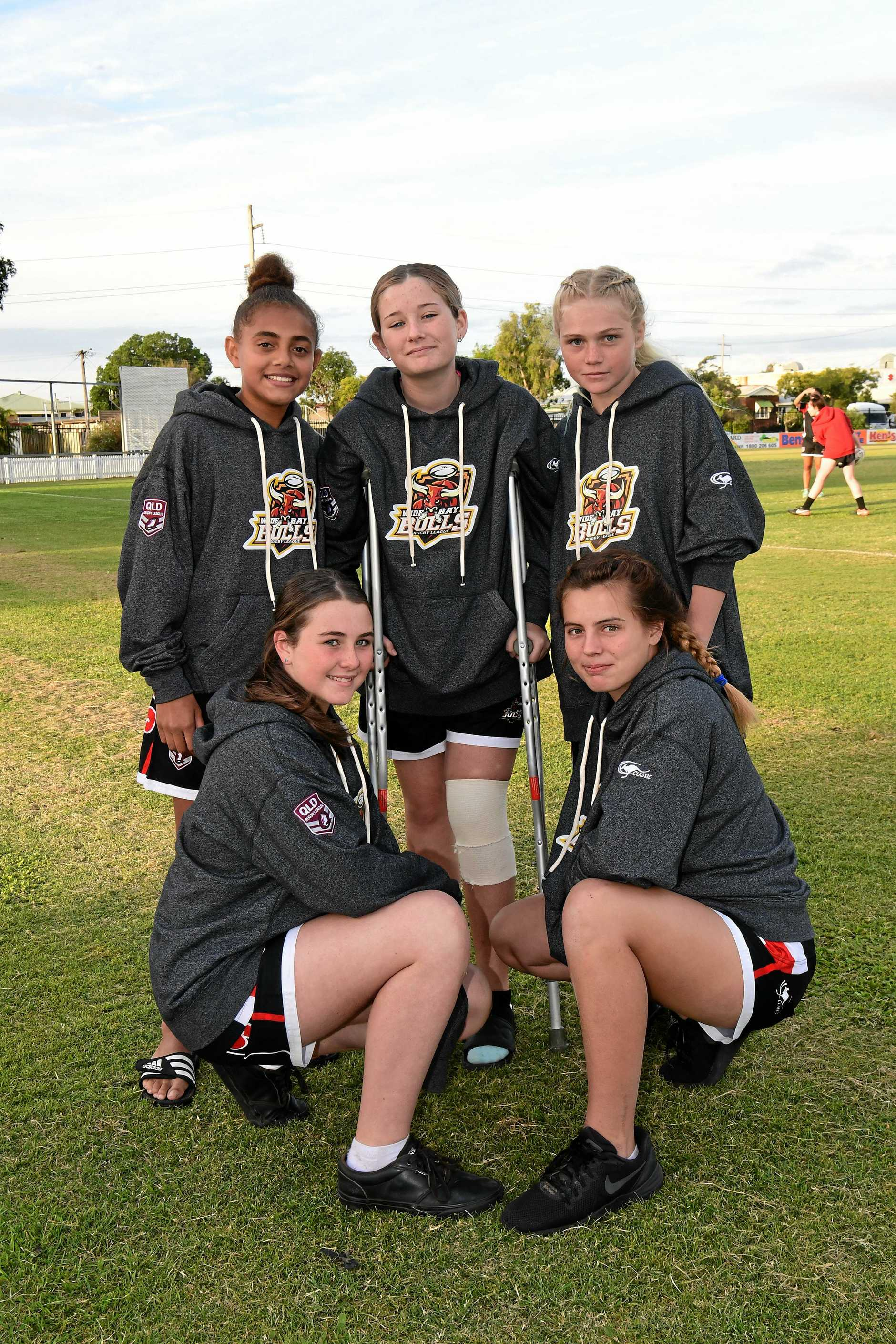 UNDER-14: The Wide Bay Bulls side: Shiloh Atkinson and Chelsea Howarth (front), Caitlin Tanner, Crystal Goodman-Jones and Karissa Jeffs (back).