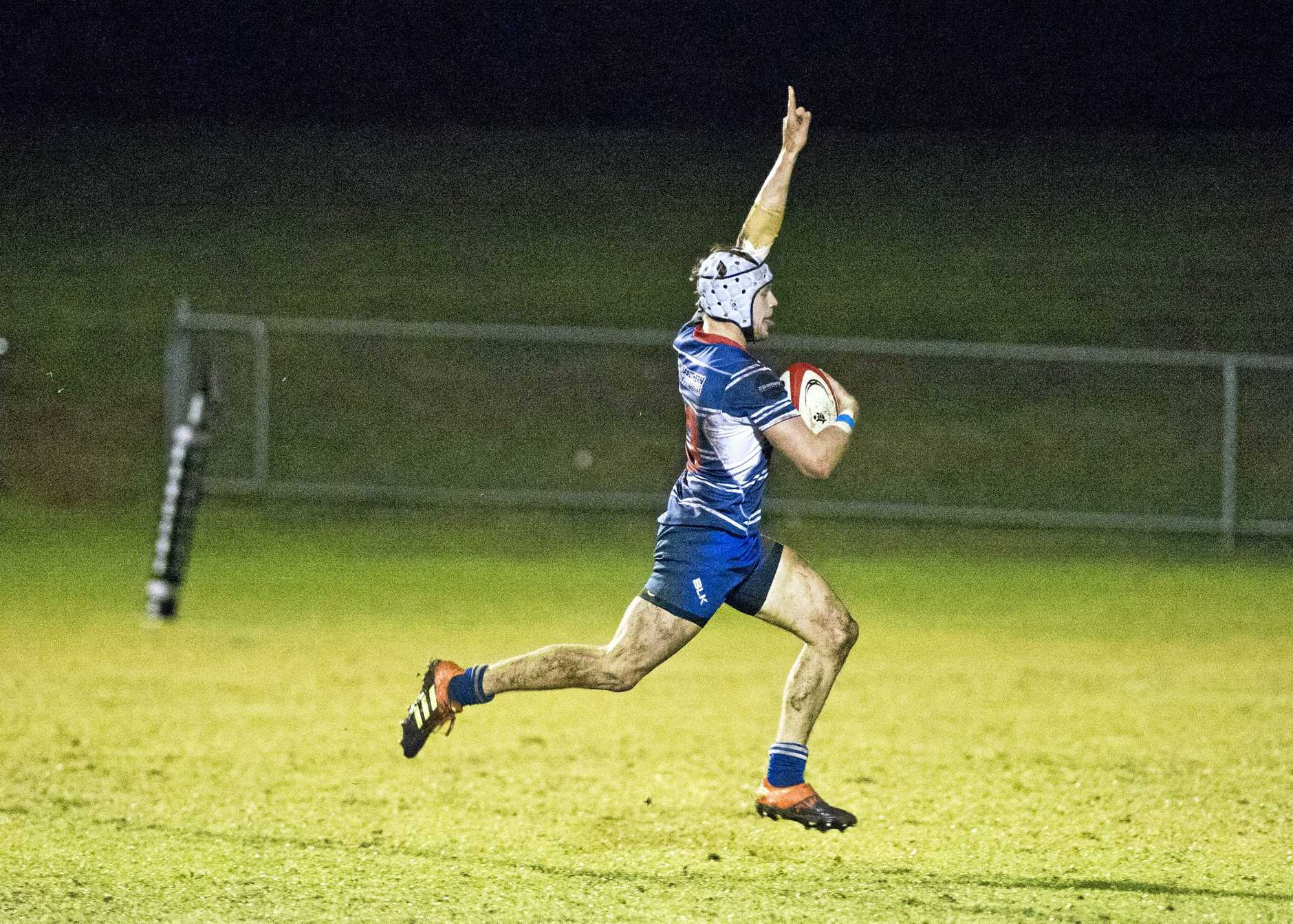 USQ's Jack Scanlon on his way to score a try. Rugby Union, Rangers vs USQ. Saturday, 8th Jun, 2019.