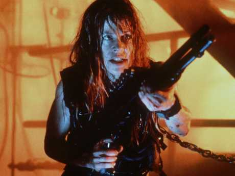 Linda Hamilton as Sarah Connor in Terminator II.