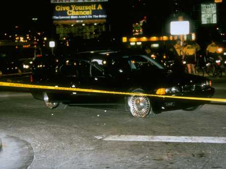 The black car in which rapper Tupac Shakur was fatally shot. Picture: Getty