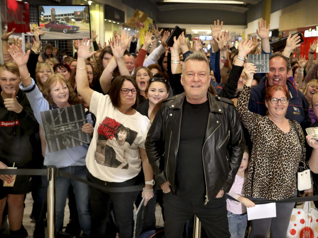 Jimmy Barnes among his people at an in-store signing for his new album,