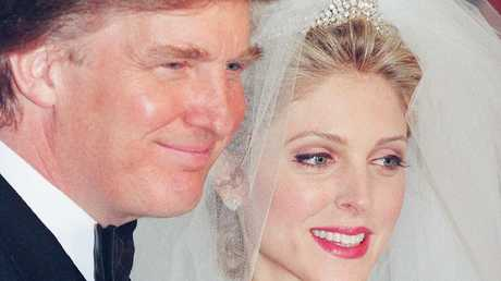 Donald Trump and Marla Maples pose for photographers following their wedding ceremony in New York. Picture: Kathy Willens/AP Photo
