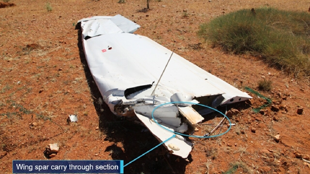 The right wing which separated from the Cessna 210, resulting in a rapid loss of control. Picture: ATSB