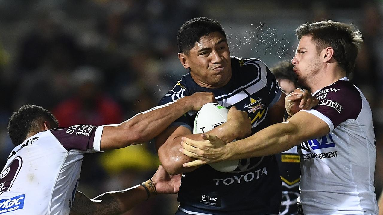 Jason Taumalolo of the Cowboys is tackled during the round 13 NRL match between the North Queensland Cowboys and the Manly Sea Eagles at 1300SMILES Stadium on June 08, 2019 in Townsville, Australia.