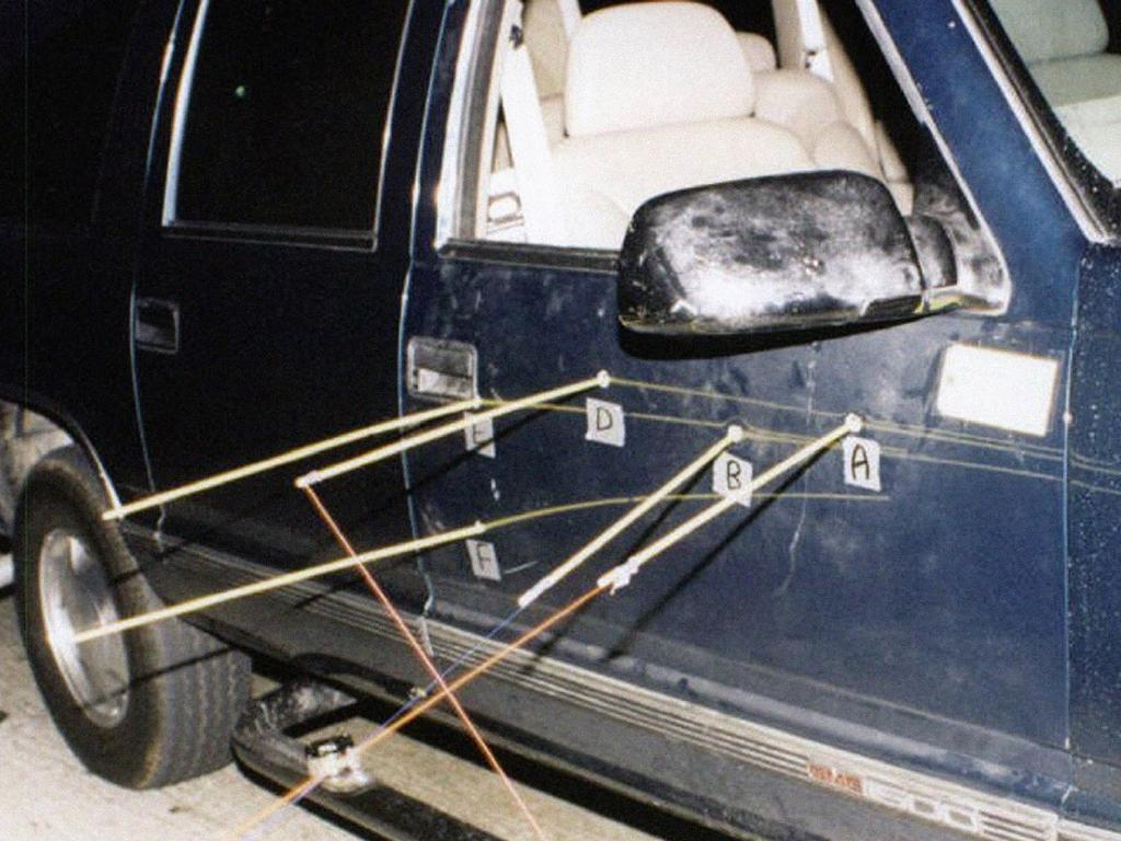 A photo from former LAPD Officer Greg Kading ahead of his Australian tour. It shows the exterior of Biggie Small's car where the bullets penetrated the car. Picture: Supplied