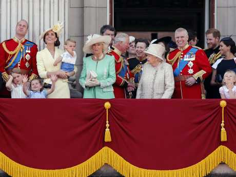 Britain's Queen Elizabeth, centre, and members of the royal family attend the annual Trooping the Colour Ceremony in London, Saturday, June 8, 2019. Picture: AP Photo