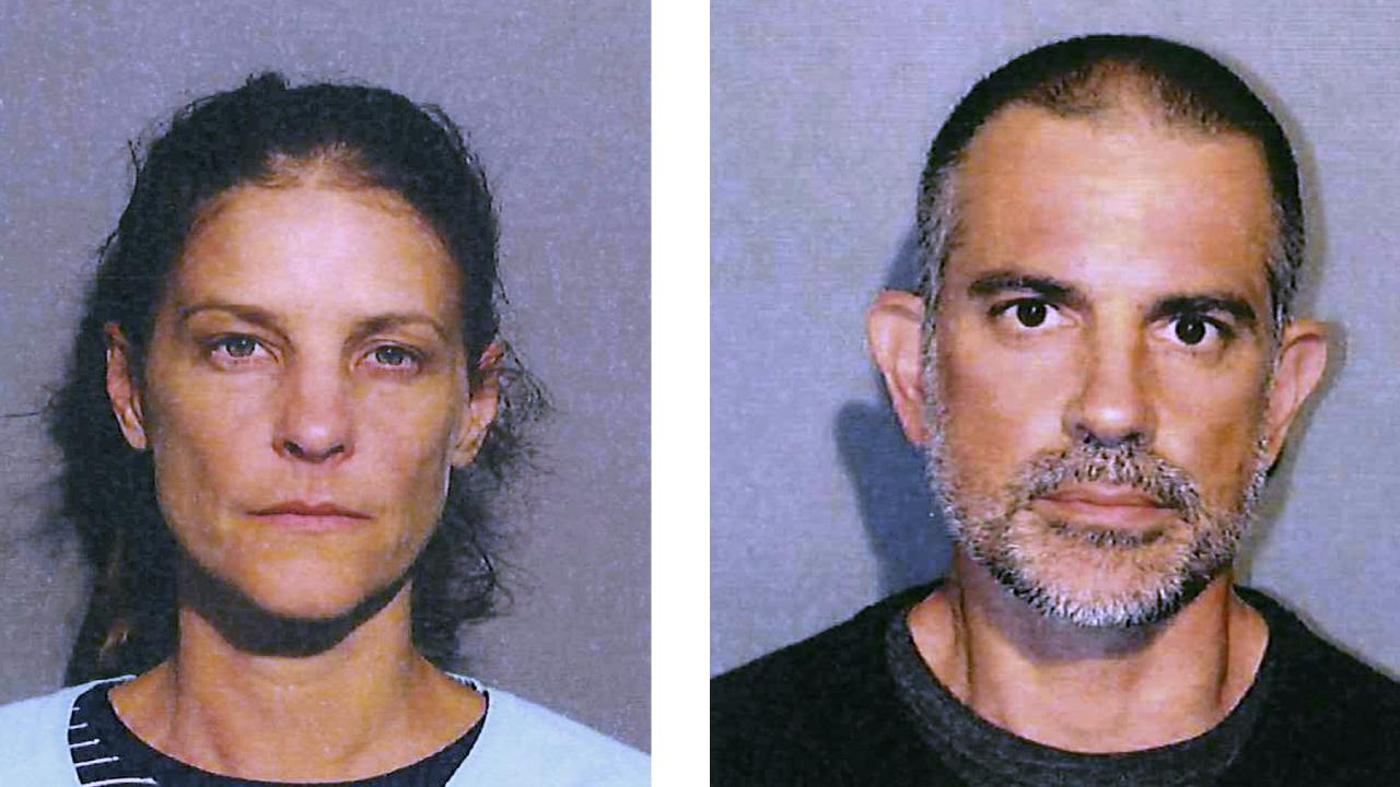 Michelle Troconis and boyfriend Fotis Dulos following their arrest on Saturday. They are the prime suspects in the suspected murder of Dulos' estranged wife. Picture: New Canaan Police Department via AP