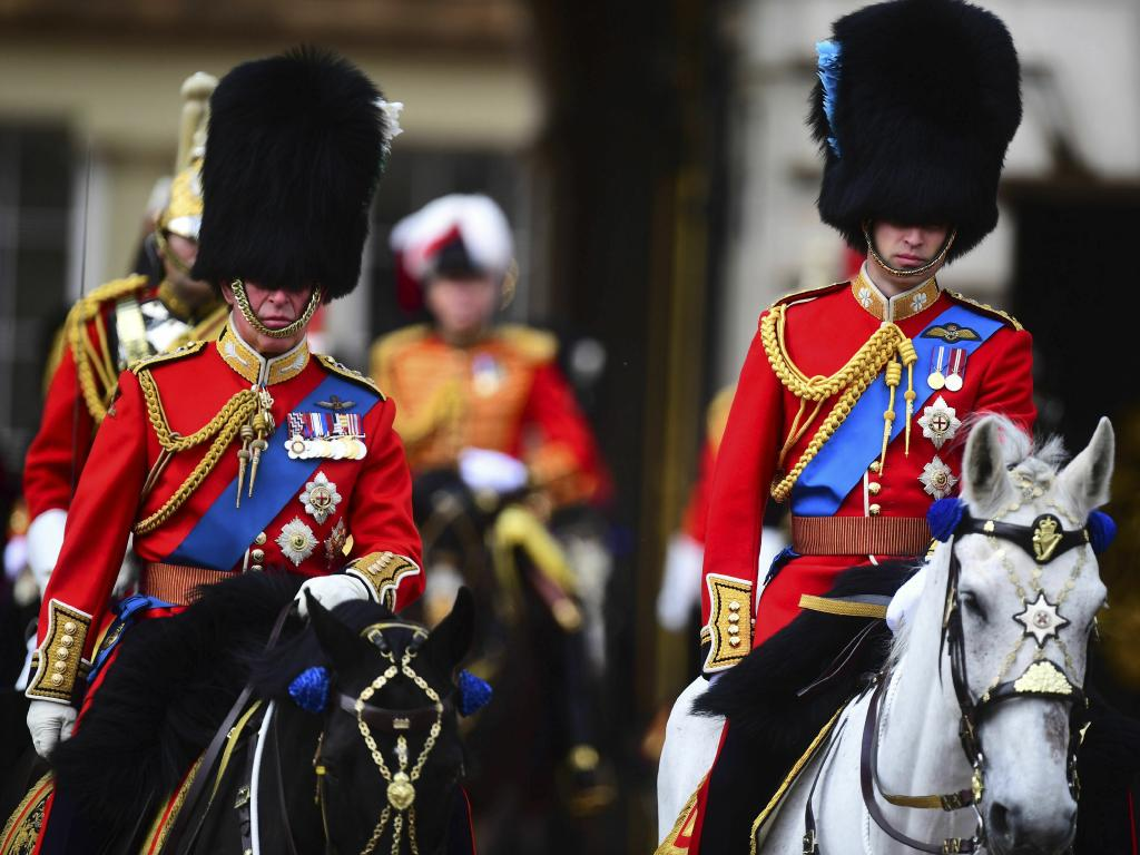 Britain's Prince Charles, right, and Prince William attend the annual Trooping the Colour Ceremony in London. Picture: AP