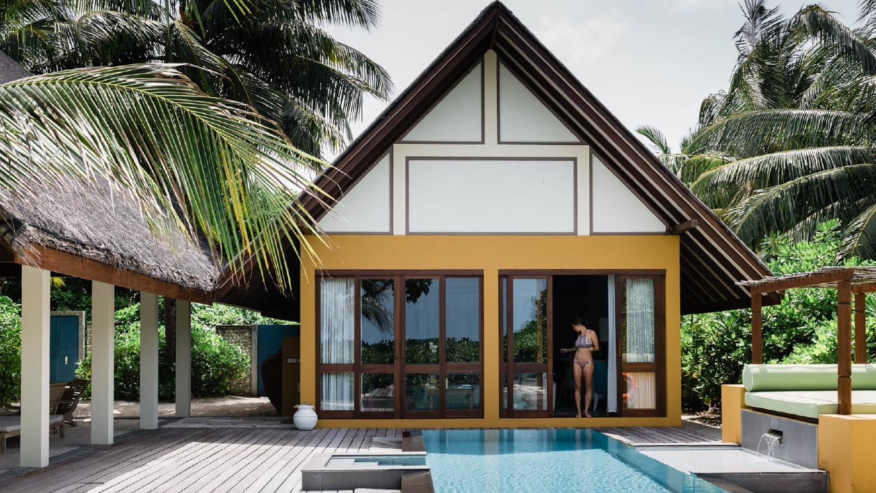 One of the luxurious bungalows the family stayed in while visiting the Maldives.