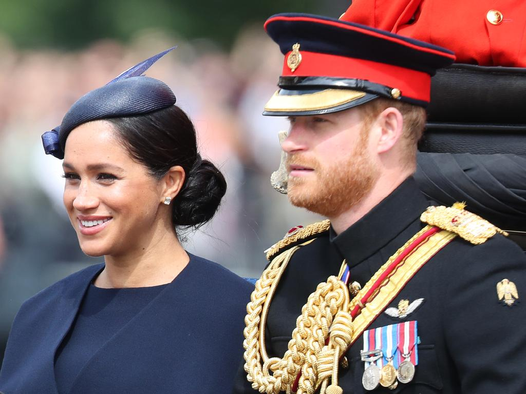 Meghan, Duchess of Sussex, smiles with Prince Harry. Picture: Getty