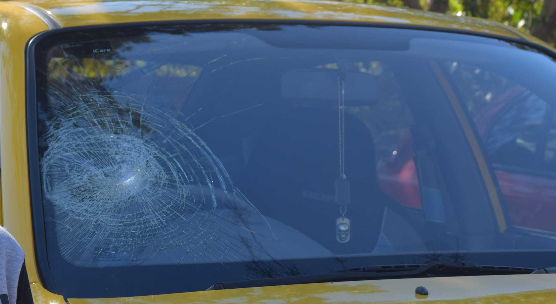 A teen's windscreen was smashed in a shocking road rage attack.