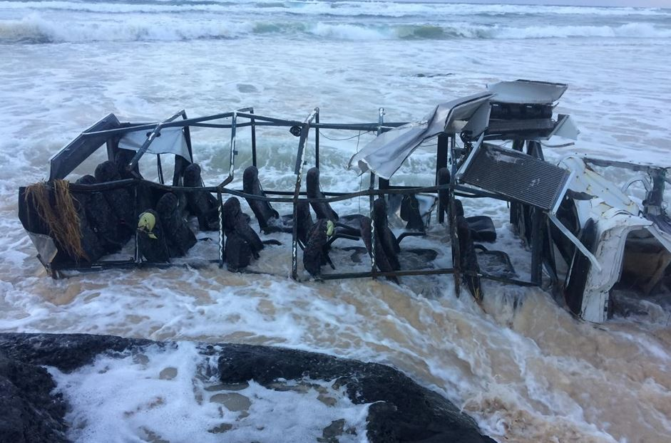 MOTHER nature has slowly but surely unleashed its fury on a tourist bus stranded in the sea at Fraser Island overnight. Image via Rainbow Recovery, Repairs and Services and Sailfish on Fraser.