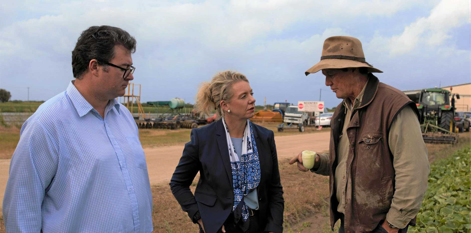 TASTE TEST: Federal MP for Dawson George Christensen and Minister for Agriculture Bridget McKenzie talked to Walker Farms owner Carl Walker about helping farmers expand into international markets.