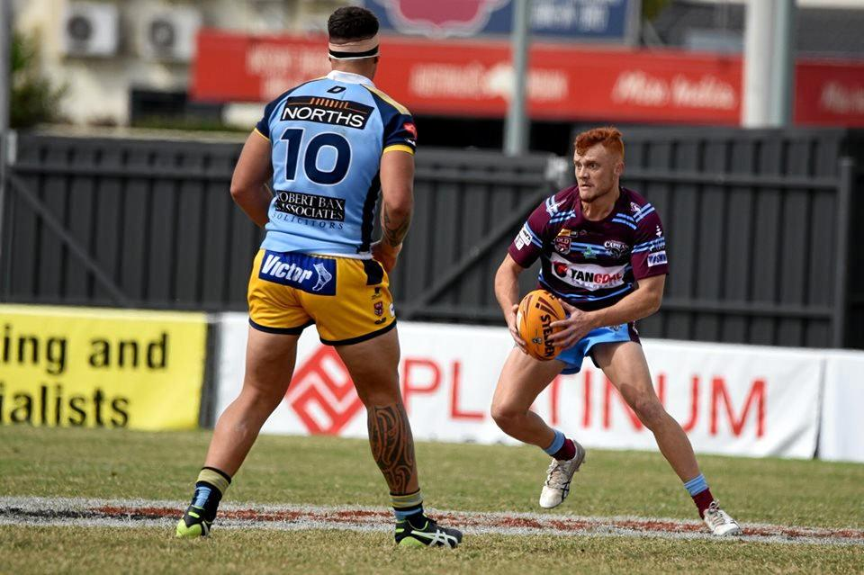 Capras 20s fullback Travis Turnbull was sidelined with injury late in the first half against the Northern Pride.