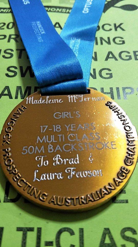 Madeleine McTernan's engraved medal for Brad Fewson.