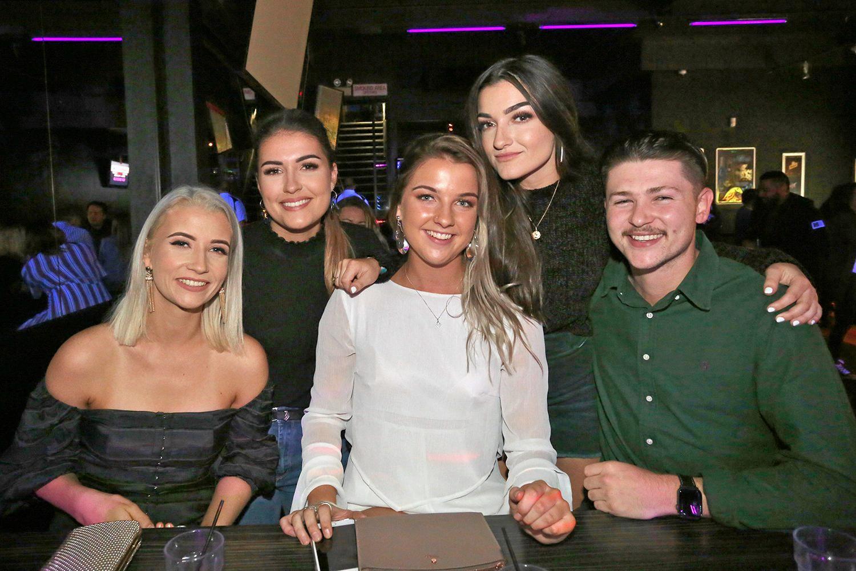 L-R Kody Thring, Rachel Hansen, Brittae Barwick, Lucia Coleiro-Carbone and Jack Hughes at Zodiac Nightclub.