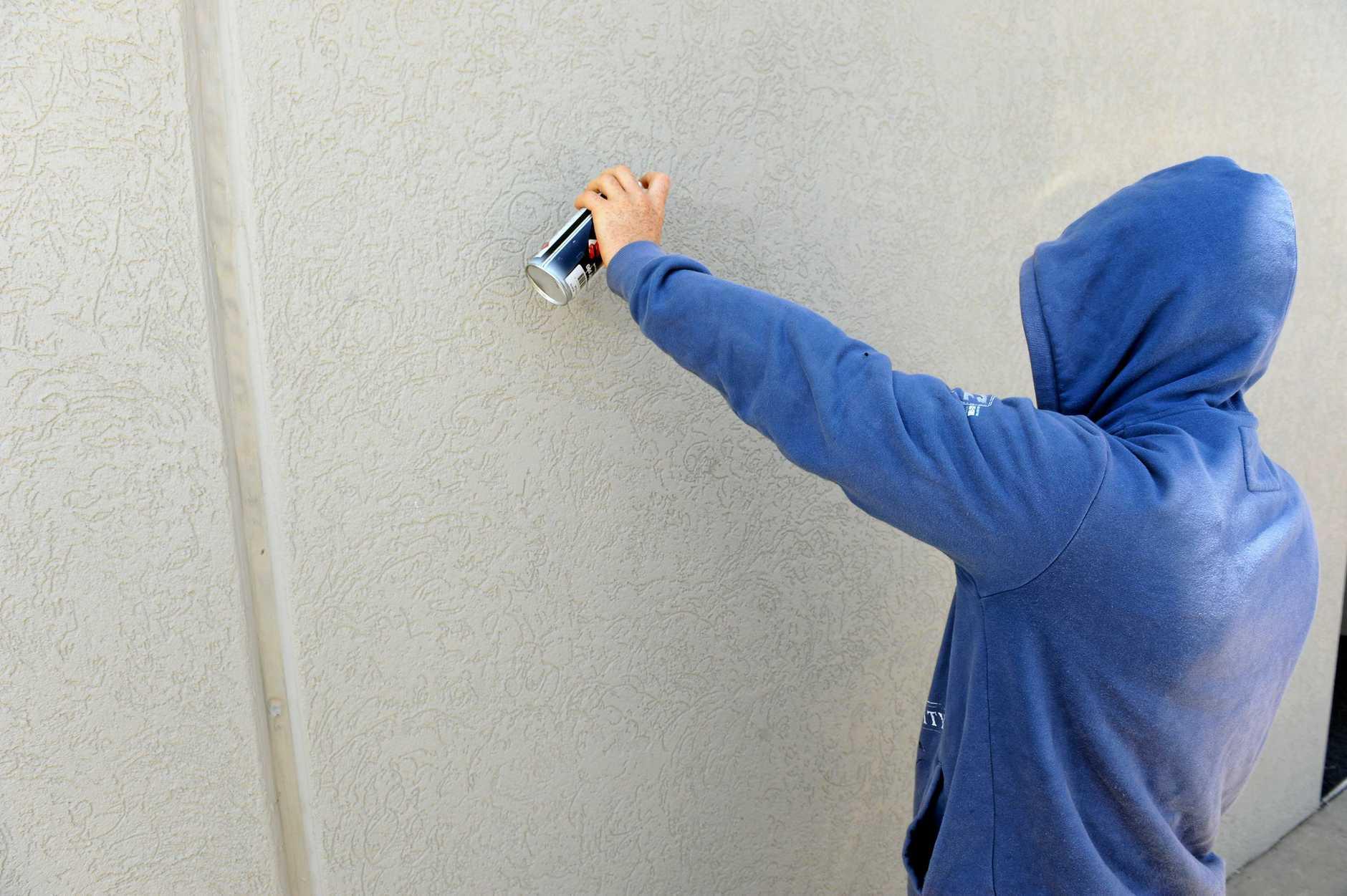 A man who graffitied a Bowen school has faced court.