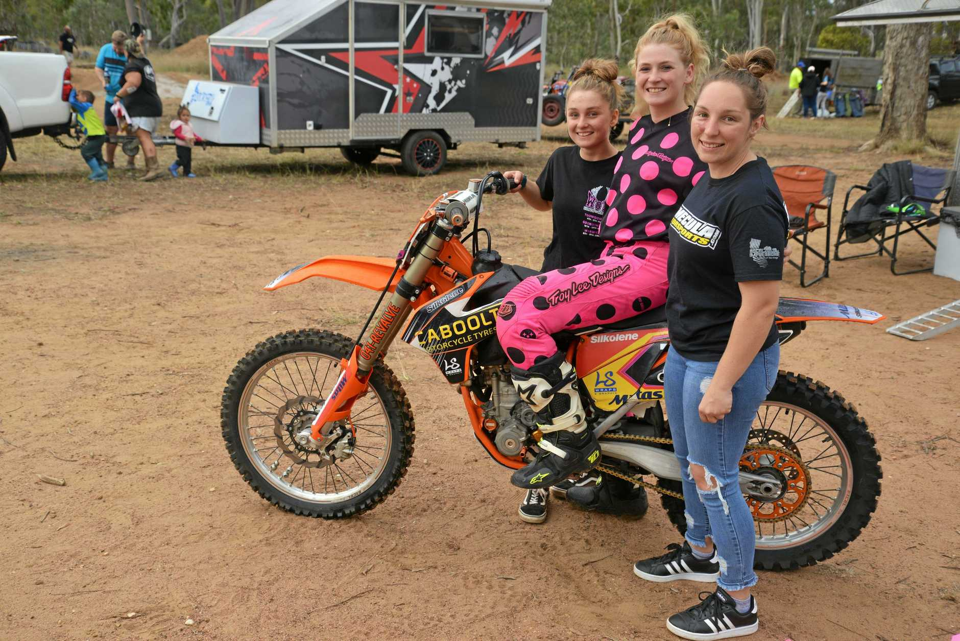 SERIES RIDERS: Jasmine Stagg, Lauren Jones and Taryn Cox after placing in the Women on Wheels series round at Morgan Park, Warwick.