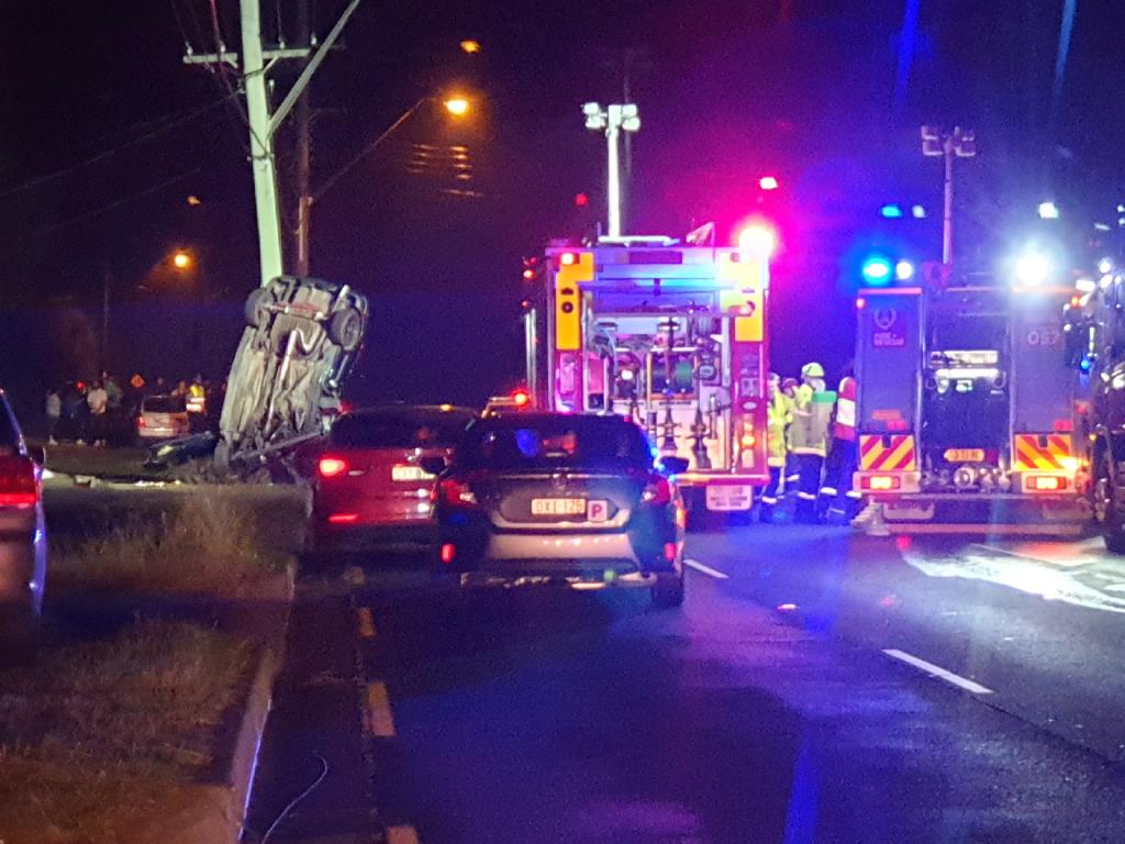 Police believe the driver lost control of the sedan while driving west on the Great Western Highway. Picture: Steve Tyson