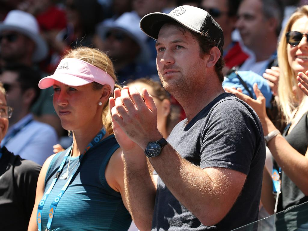 Ash Barty's partner Garry Kissick and coach Alicia Molik at the Australian open.