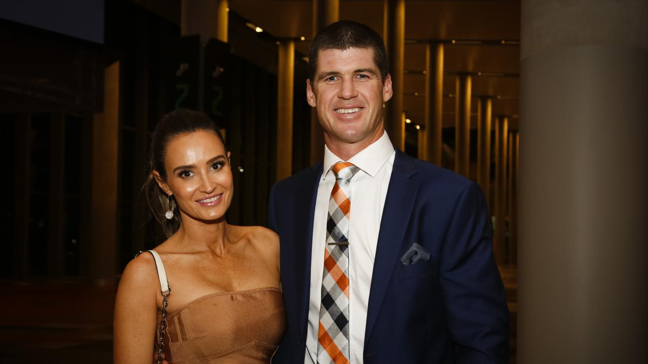 Jonathan Brown with his wife Kylie at the Brisbane Lions' Hall of Fame function. Picture: Antonia Hempel