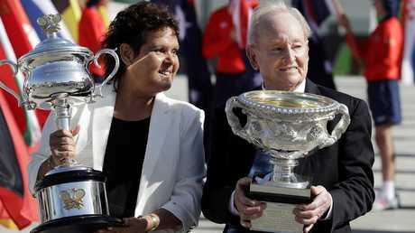 Australian tennis legends Evonne Goolagong Cawley and Rod Laver. Picture: AP