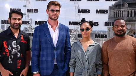 Kumail Nanjiani, Chris Hemsworth, Tessa Thompson and director F. Gary Gray at the Men in Black: International launch in London last week. Picture: Getty