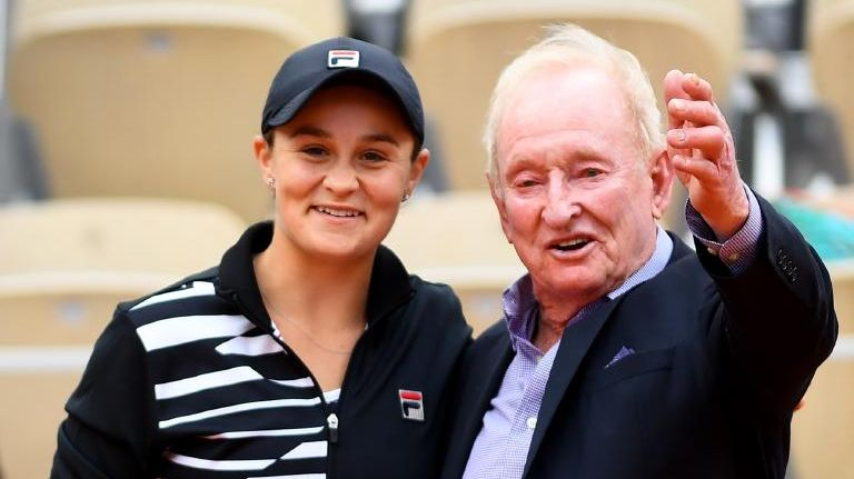 Ash Barty celebrates with Rod Laver. Picture: Getty