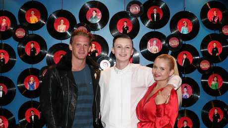 Cody Simpson with his little brother Tim and Sister Alli at All Saints College. Photograph: Jason O'Brien