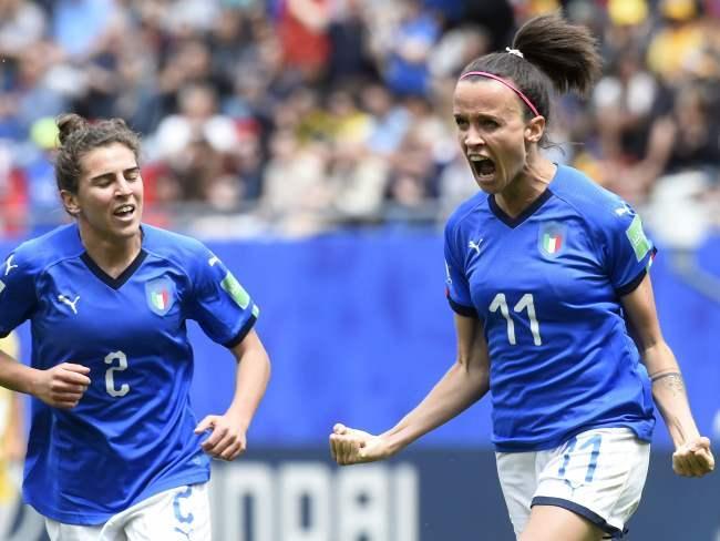 Italy's midfielder Barbara Bonansea (R) celebrates after scoring a goal. Picture: AFP