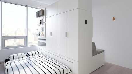 The robotic furniture adds an extra eight square metres of space.