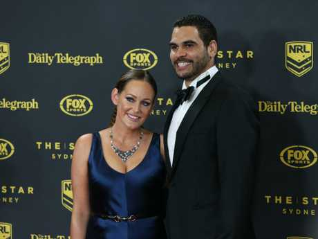 Sally Inglis, above with Greg at the 2015 Dally M Awards, said they had decided not to ignore racism but confront it head on. Picture: Richard Dobson