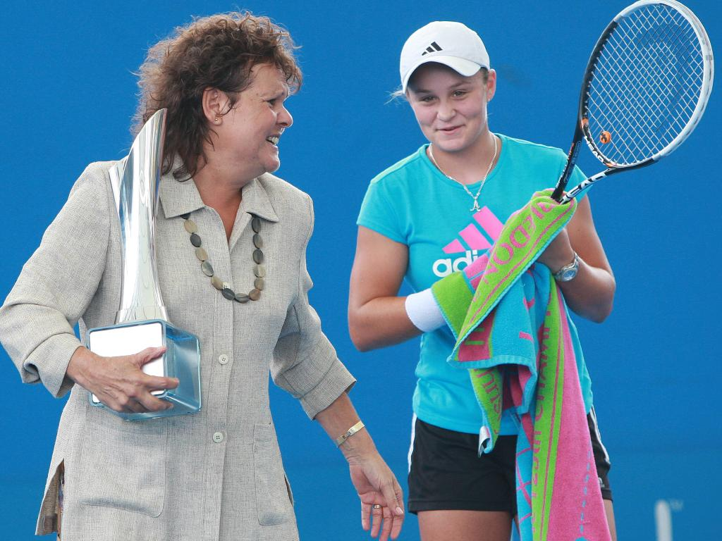 Close mates Evonne Goolagong Cawley with Ash Barty at women's Brisbane International trophy tournament named after Goolagong Cawley. Picture: Jono Searle