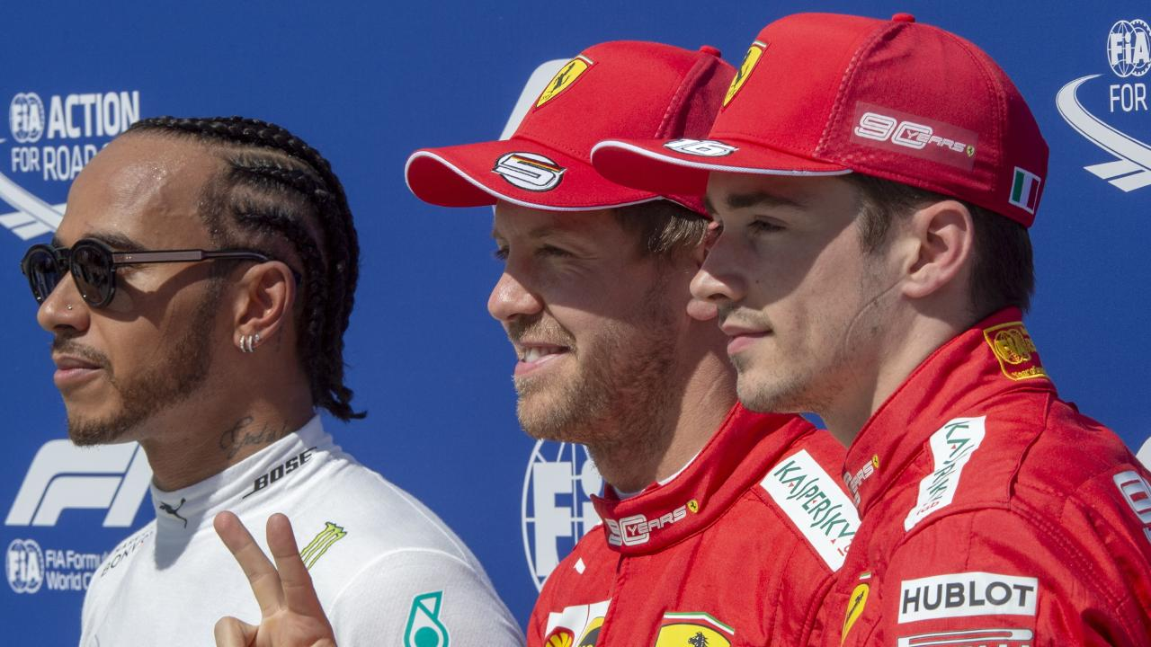 Pole winner  Sebastian Vettel (centre) is flanked by Mercedes driver Lewis Hamilton and fellow Ferrari driver Charles Leclerc. Picture: Tom Boland