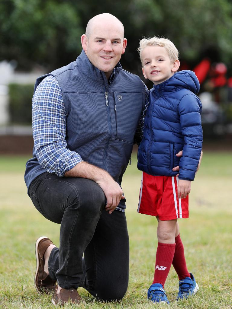 Stephen Moore with his 6-year-old son, Theodore. Picture: Tara Croser.