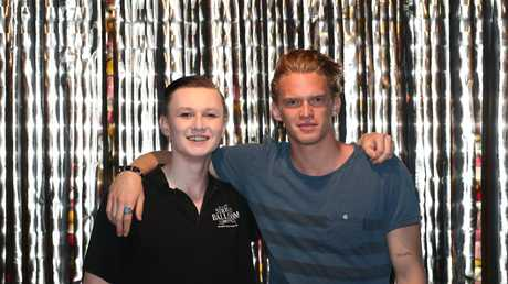 Cody Simpson with his little brother Tim at All Saints College. Photograph: Jason O'Brien
