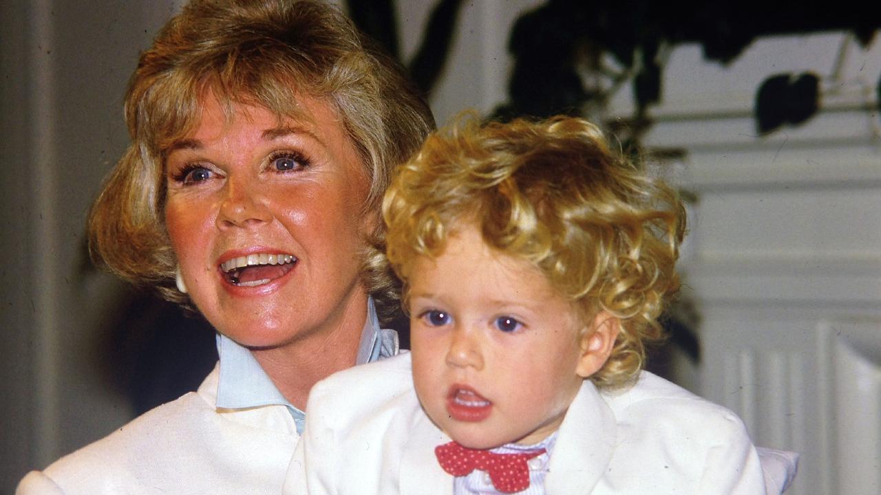 Doris Day with her grandson Ryan Melcher 4, in 1985.
