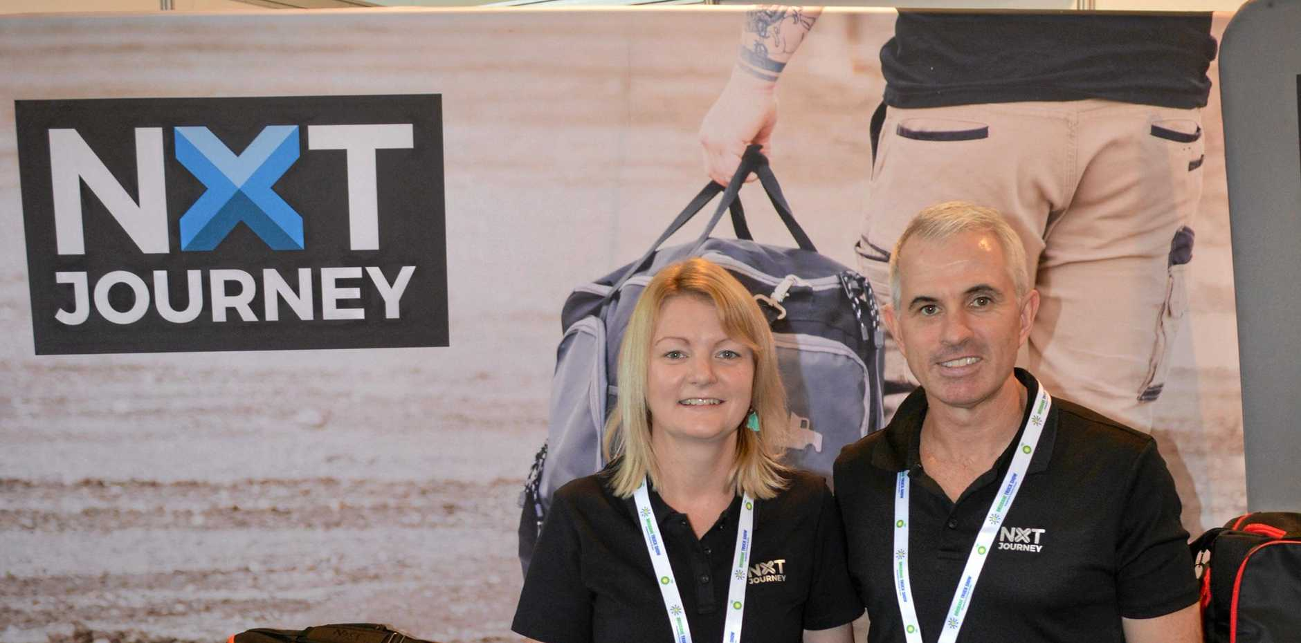 IN THE BAG: Gemma and Simon Sutherland on the NXT Journey stand at the truck show.